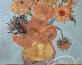 Sale! Sun Flowers by Vincent van Gogh,  Study reproduction art, Oil on canvasゴッホのサンフラワーを勉強した作品。オイル画by Yoko Collin