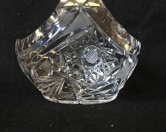 "Vintage Small Cut Lead Crystal Basket Vase, Cut Crystal Basket 4"" wide x 3.5"" tall x 2.5"" deep"
