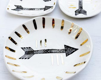 Ring Dish, Arrow, Gold, White,Porcelain, Wedding Gifts, Boho Luxe, Limited Edition, Made in Australia.