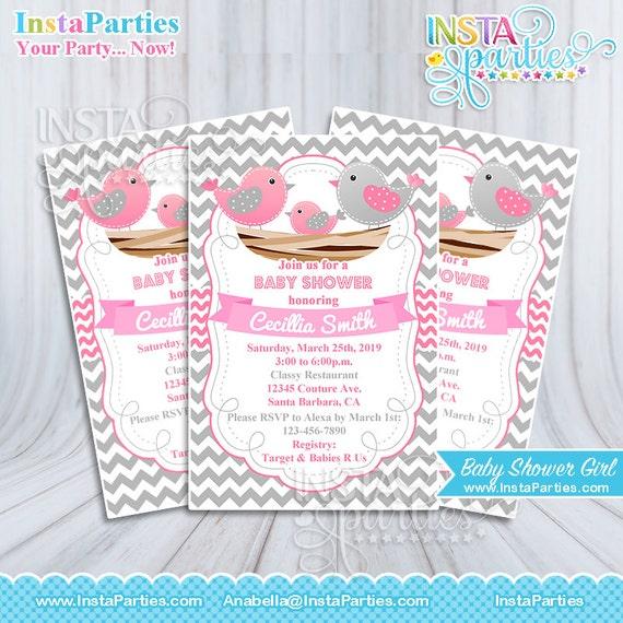 Invitaciones pajaritos Baby Shower niña bebe invitacion