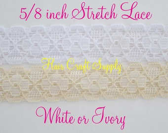 """VINTAGE STRETCH LACE by yard - 5/8"""" perfect for headbands, decorating clothing, baby, wedding"""