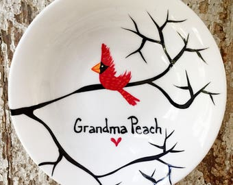 Personalized Cardinal Ring Dish, Personalized Jewelry Dish - Personalized Jewelry Holder, Cardinals, Christmas Cardinals, FREE SHIPPING