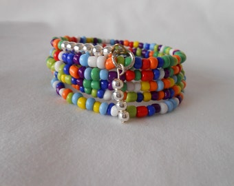 Stacking Bracelet - ABC colors Seedbeads