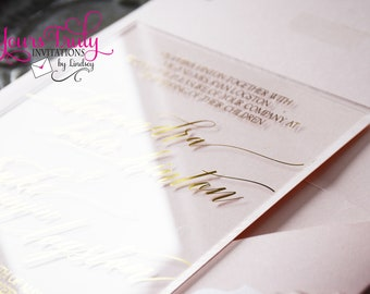 Deposit - Custom Clear Acrylic Wedding Or Party Invitation with Gold Foil Stamping in your colors - custom design bespoke