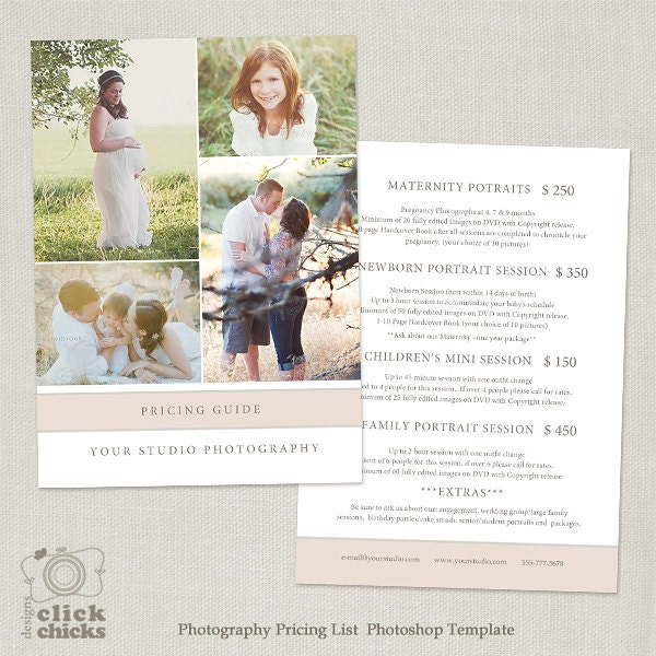 Wedding Family Photography List: Photography Package Pricing List Template Photography