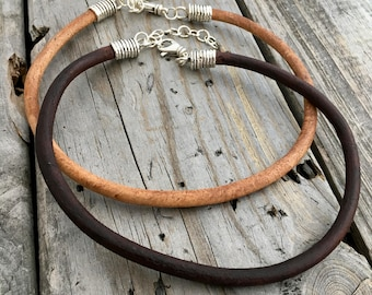 Leather Cord Necklaces Brown Leather 6mm Wild Prairie Silver Jewelry Joy Kruse