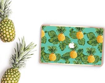 Macbook Pro 13 Case Macbook Air Case Laptop Case Macbook Decal Tropical PineApple and Rose Gold Chrome Edge