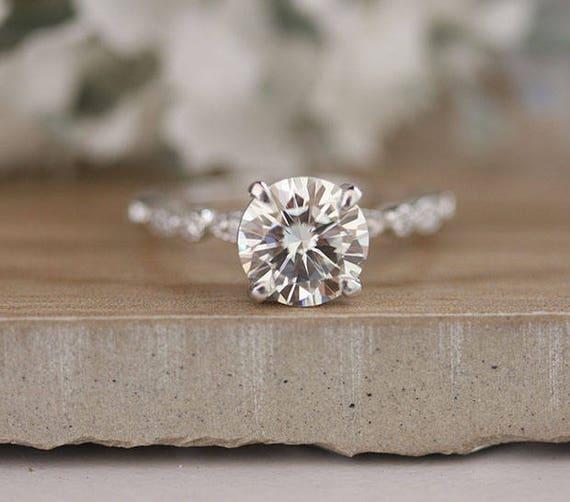 8mm Round Moissanite Forever Classic Engagement Ring 14k