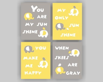INSTANT DOWNLOAD Yellow and Gray Elephant Nursery Printable Set of 4, 8x10, Elephant and Bird, You Are My Sunshine, Baby Room wall art Decor