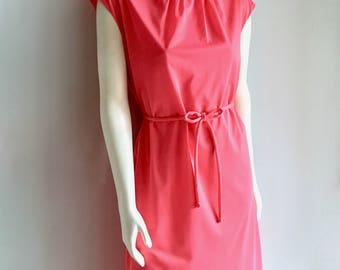 Vintage Women's 60's Mod, Hot Pink, Dress, Sleeveless by Sacony (L)