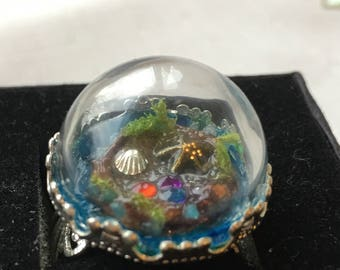 Magical Mermaid Treasure Trove Ring ~ Adjustable Terrarium ring with hand-crafted Rockpool Scene and Mermaid sparkle