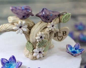 Personalized  Wedding cake topper Birds cake topper Custom love birds