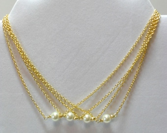 Ivory Pearl and Gold Plate Bridesmaids Necklaces
