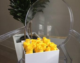 White acrylic flower box