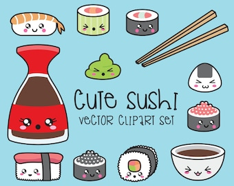 Premium Vector Clipart - Kawaii Sushi Clipart - Kawaii Sushi Clip Art Set - High Quality Vectors - Instant Download - Kawaii Clipart