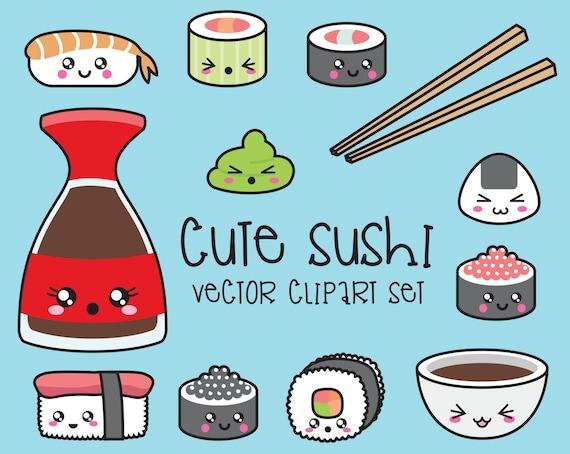 Premium-Vektor Clipart Kawaii Sushi Clipart Kawaii Sushi