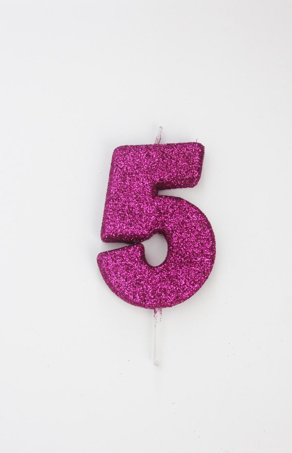Glitter Hot Pink Candle Number Birthday Cake Candles Magenta