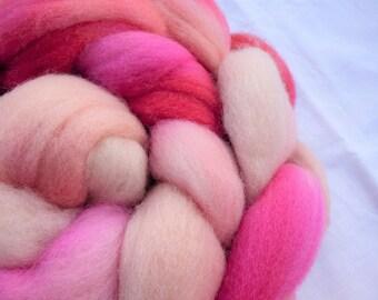 Pink Polwarth - Hand Dyed Wool Roving (Top) - 100g