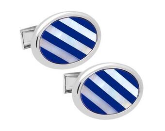 Blue & White Stripe Shell Cufflinks