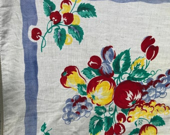 Adorable Fruit and Floral Vintage Tablecloth
