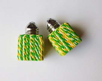 """Salt and Pepper Shakers, small 1"""" square, polymer clay, green and yellow"""