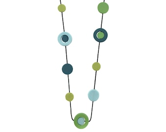bright colour spring necklace,  pantone greenery light blue and teal jewellery designed by Frank Ideas