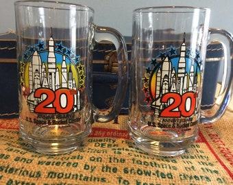 Vintage 20th Anniversary U.S. Space & Rocket Center, Huntsville, Alabama Set of 2 Drinking Glasses