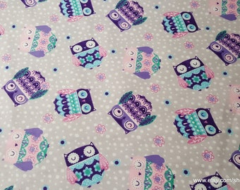 Flannel Fabric - Printed Sleepy Owls - By the yard - 100% Cotton Flannel