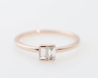 Straight Baguette Diamond Band, Gold Band, Rose Gold Ring, Diamond Ring