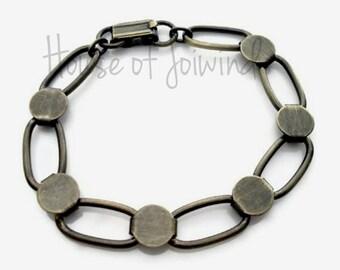 5 Piece Lot Oval Disc Loop Glue Pad Bracelet Blanks Antique Brass / Bronze