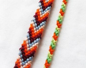 Sour Summer Camp // Limited Edition, Friendship Bracelet, Burgundy,Blue, Yellow, and Peach Woven bracelet, Handmade