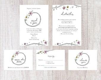 Simple Floral Black and White Wedding Invites Suite   Handwritten Lettering   Printable Digital File   Pretty   Wedding Invitations Set