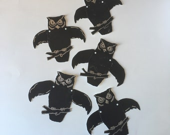 5 Vintage Halloween Owl Decorations {Handmade Vintage Articulated Joined Wing} Owls Black Die Cut Cardboard/ Paper Party Decoration Cut Out