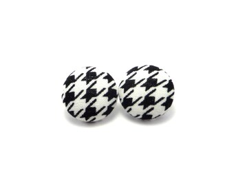 Black houndstooth fabric button earrings - houndstooth earrings - houndstooth fabric button earrings - black button earrings - gifts for her