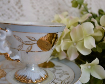 Vintage Luster-Ware Hand Decorated Fine Bone China Tea Cup and Saucer, Light Blue/Copper Vine Motif, Gold Gilt, Unmarked