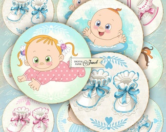 Newly Born - 2.5 inch circles - set of 12 - digital collage sheet - pocket mirrors, tags, scrapbooking, cupcake toppers