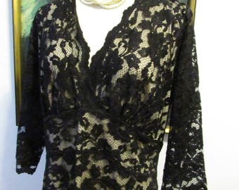 Vintage Black Lace Overlay Dress Circa 1990's Kiyonna Brand