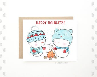 Happy Holidays Card - Christmas Card - Cute Snowman Card - Holiday Greetings - Recycled Paper - Snowmen