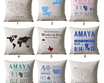Custom Map Pillow, Locations Pillow, World Map Pillow cover, Travel Pillow, Going Away Gift, Housewarming Gift, Long Distance Relationship