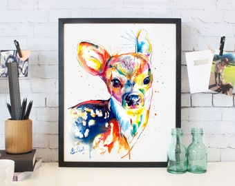Baby Deer -Colorful print of original watercolor painting - bright nursery decor (FREE Shipping)