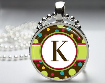 Fun Polkadot Initial Monogram Round Pendant Necklace with Silver Ball or Snake Chain Necklace or Key Ring