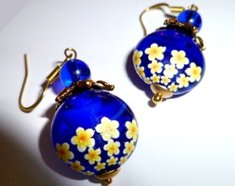 yellow, cobalt and white earrings