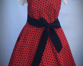 Flirty Sweetheart Retro Red With Black Polka Dot for Women