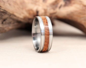 Silver Pinstripe Wood Ring With Whiskey Barrel Oak Bourbon Ring