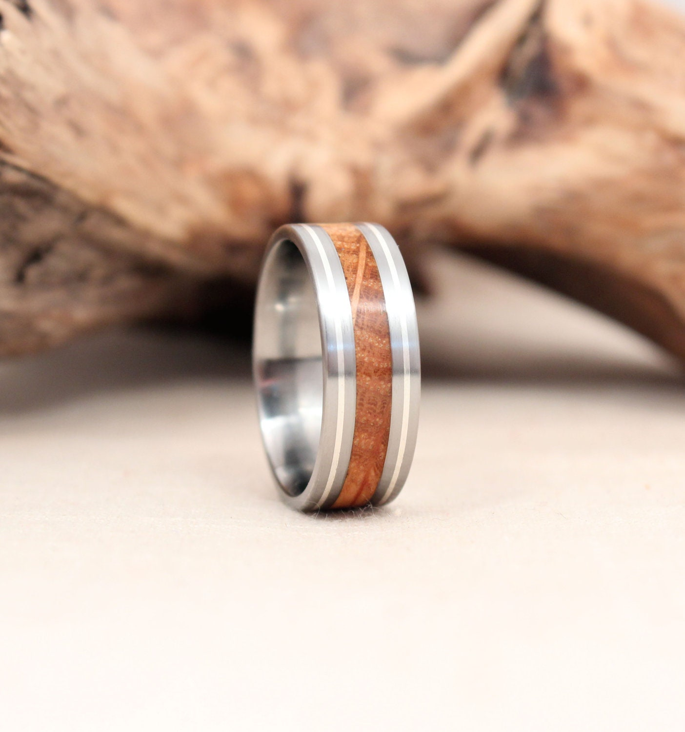 oak ss rings titanium ancient live products ring inlay bog fit wood steel stainless smoked core olivewood smokey comfort bentwood on with shavings