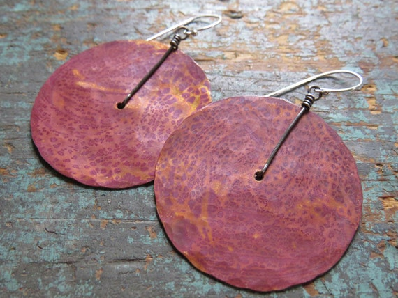 Large Copper Disk Earrings