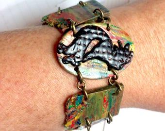 Kokopelli Armband, Flöte-Spieler-Armband, Kokopelli Tänzerin, Südwesten Schmuck, Fimo Armband, rustikale Schmuck