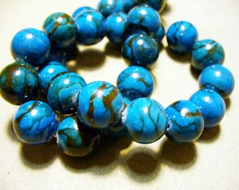 Web Jasper  Beads Gemstone Blue Round 13-14MM