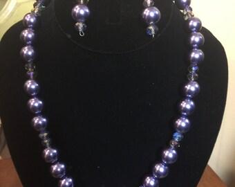 Deep Blue/Purple Necklace & Earring Set