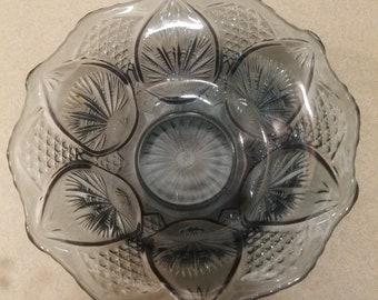 Vintage Fenton Glass Federal Blue Regency Glass Bowl Fenton Bowl Regency Bowl